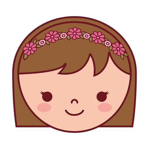 icône de visage de femme dessin animé