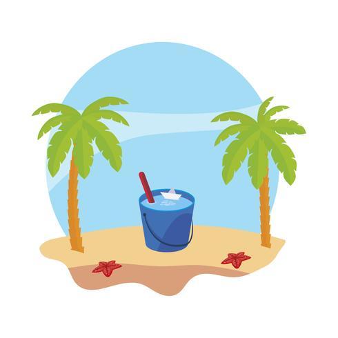 spiaggia estiva con palme e scena secchio d'acqua