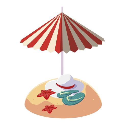 summer sand beach with umbrella and flip flops
