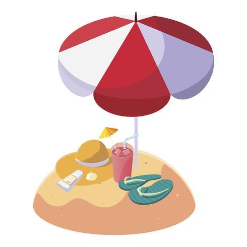 Playa de arena de verano con sombrilla y chanclas. vector