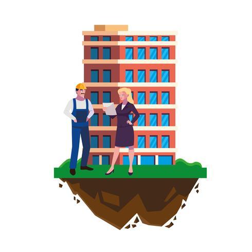 constructor masculino constructor con mujer ingeniero y edificio