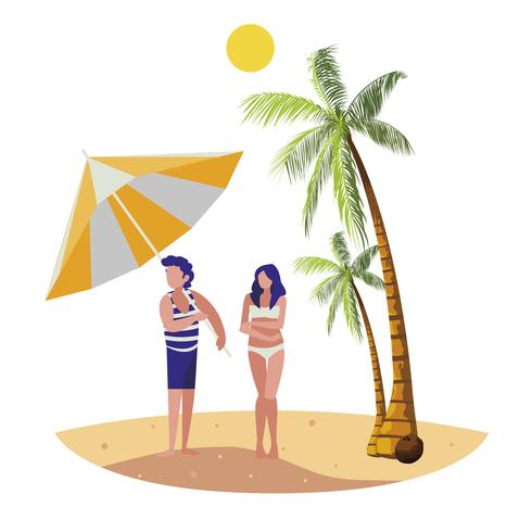 ung pojke med kvinna på sommarscenen på stranden vektor