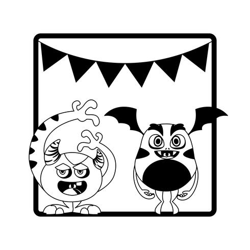 einfarbiger Rahmen mit hängenden Monstern und Girlanden