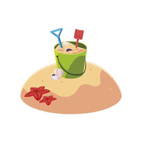 Playa de arena de verano con arena cubo escena de juguete