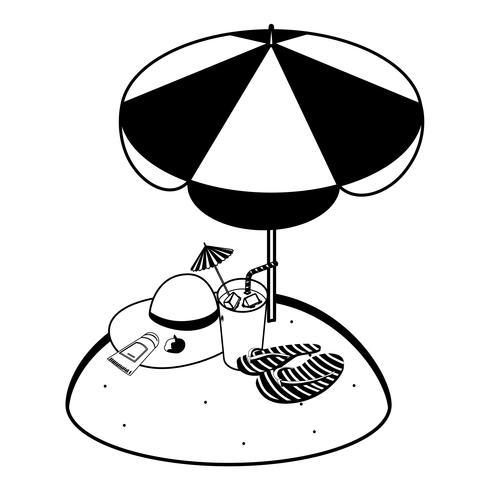 Sommersandstrand mit Sonnenschirm und Flip-Flops