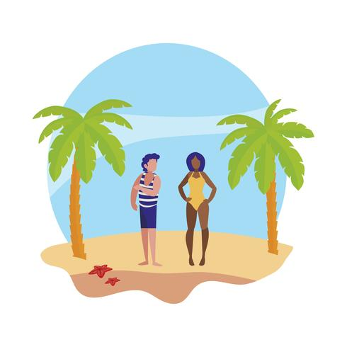 young boy with woman on the beach summer scene