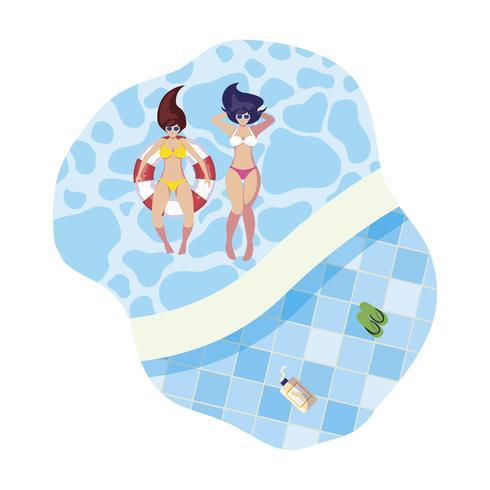 chicas con traje de baño y salvavidas flotan en la piscina vector