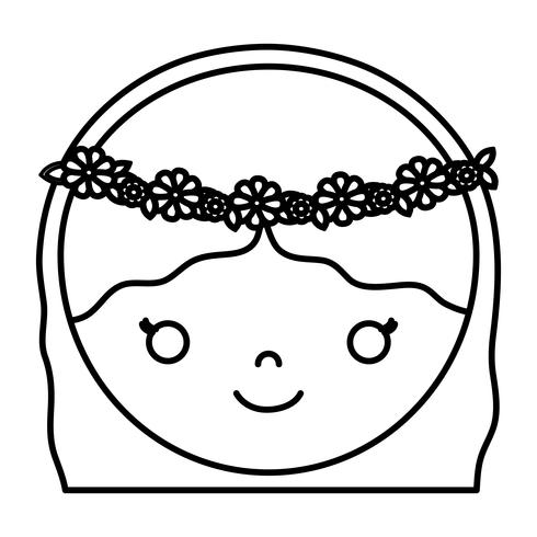 icono de cara de mujer de dibujos animados
