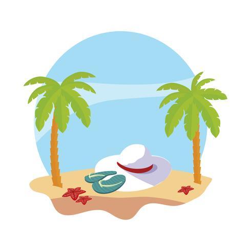 Sommerstrand mit Palmen und weiblicher Hutszene