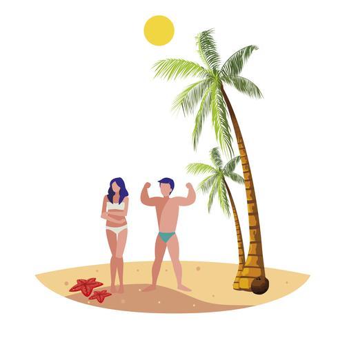 jovem casal na cena do verão praia