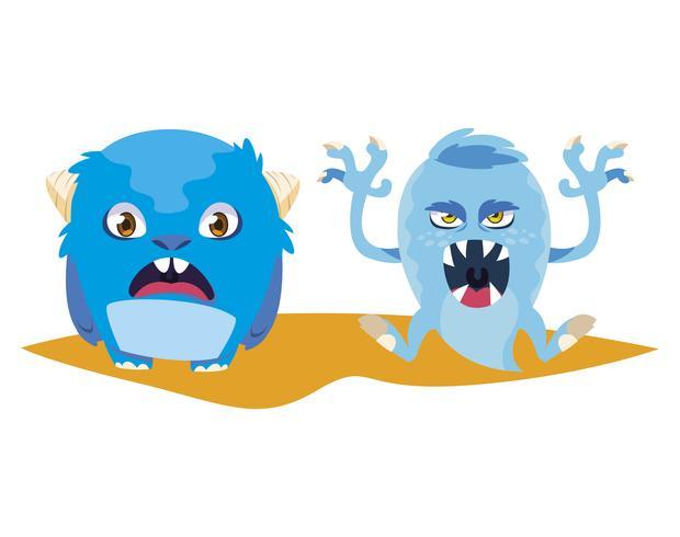 divertidos monstruos pareja personajes de comic coloridos vector