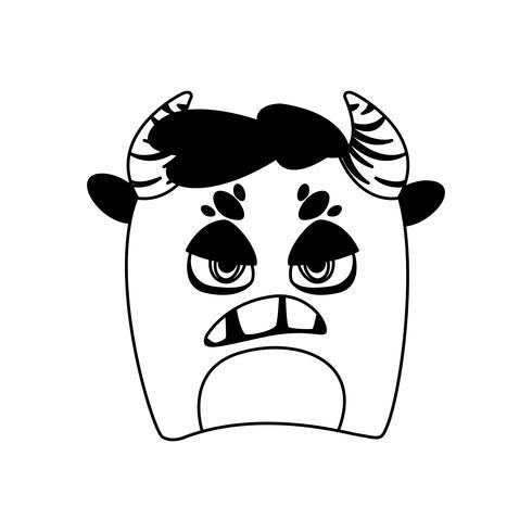lustiges Monster mit Hörnern Comic-Figur