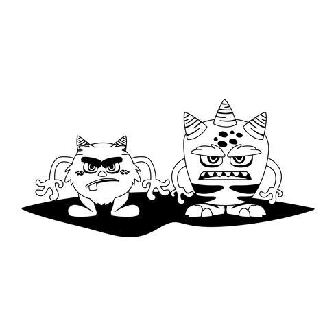 grappige monsters paar stripfiguren monochroom