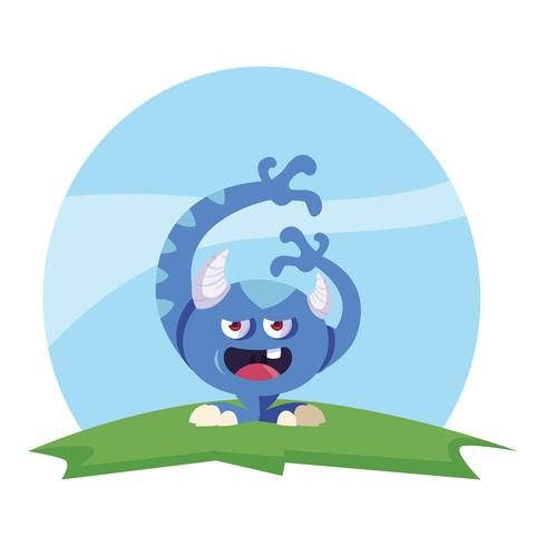 funny monster with horns in the field