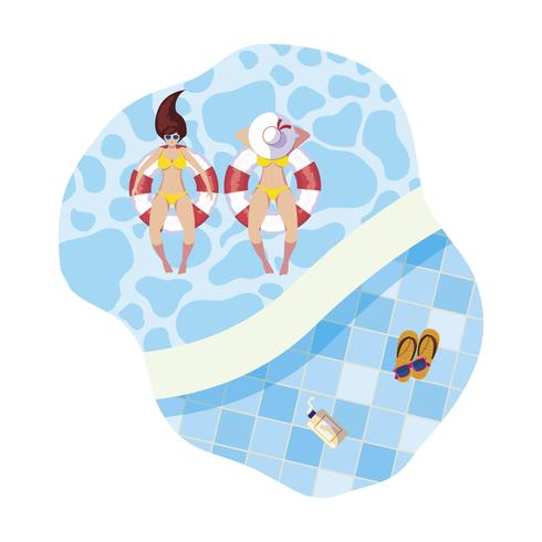 Mädchen mit Badeanzug und Rettungsschwimmer schweben im Pool