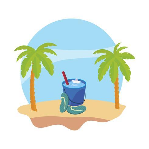 praia de verão com palmas e cena de balde de água