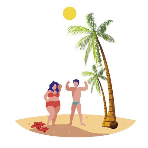 joven pareja en la escena de verano de playa