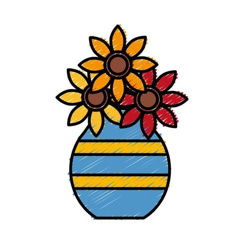 jarrón con icono de flores vector