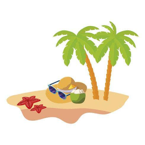 scena di spiaggia estiva con palme e cappello di paglia