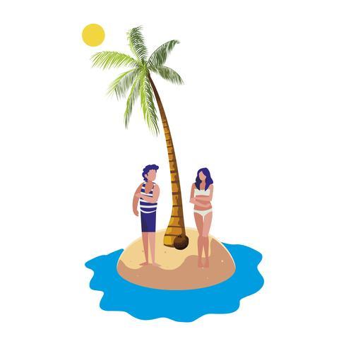 giovane coppia sulla scena estiva della spiaggia