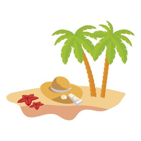 zomer strand scène met palmbomen en strooien hoed