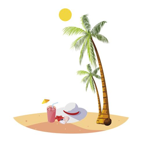sommarstrand med palmer och kvinnlig hattplats