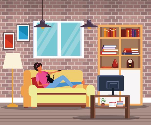 Actividades y tiempo libre en casa. vector