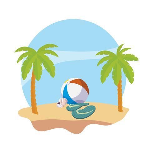 Sommerstrand mit Palmen und Ballonspielzeugszene