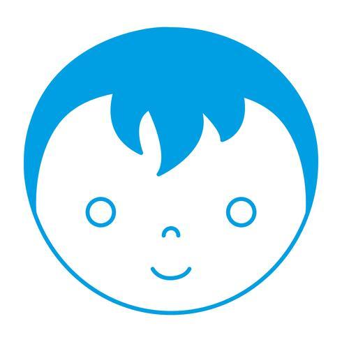 icono de cara de niño de dibujos animados vector