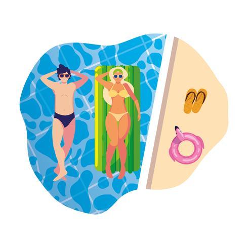 joven pareja con colchón flotador en la piscina vector