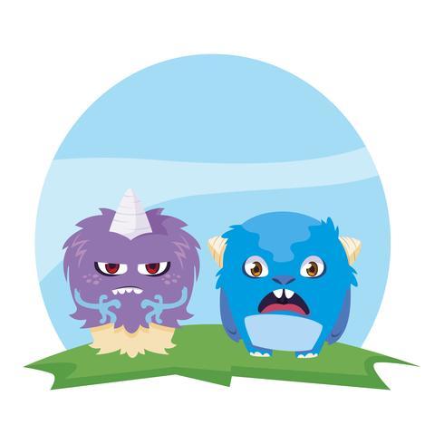Divertidos monstruos par en el campo personajes coloridos vector