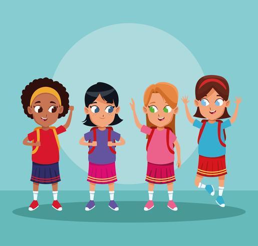 Escuela de niños y niñas de dibujos animados. vector