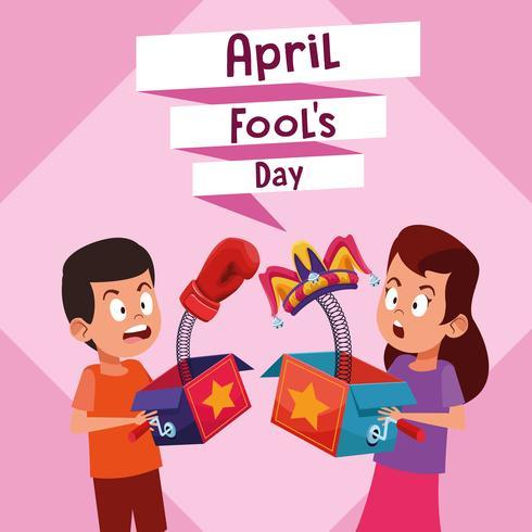 April fools boy and girl cartoon