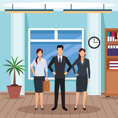 executive men cartoon vector