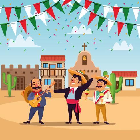 Mexicanos cinco de mayo dibujos animados vector