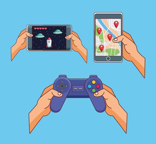 Juegos para smartphone dibujos animados vector