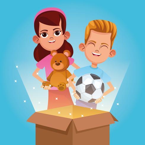 Donación infantil y caricatura caritativa. vector