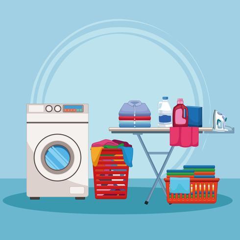 Kit de limpieza y suministros de limpieza. vector