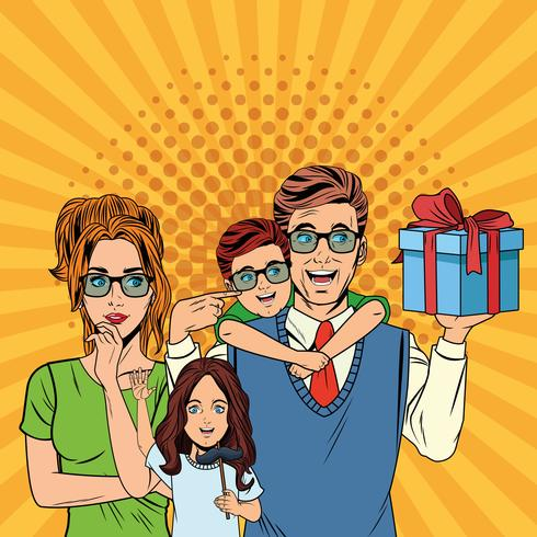 Fathers day pop art cartoons vector