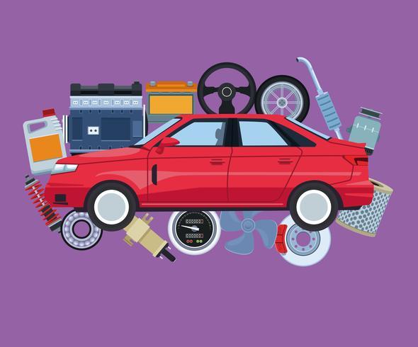 Fábrica de automóviles y sus partes. vector