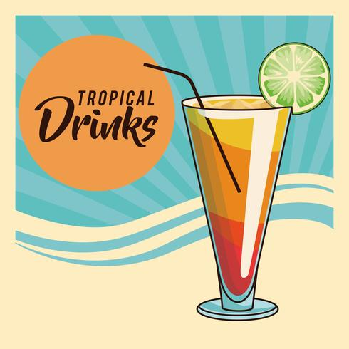 tropical cocktail poster vector