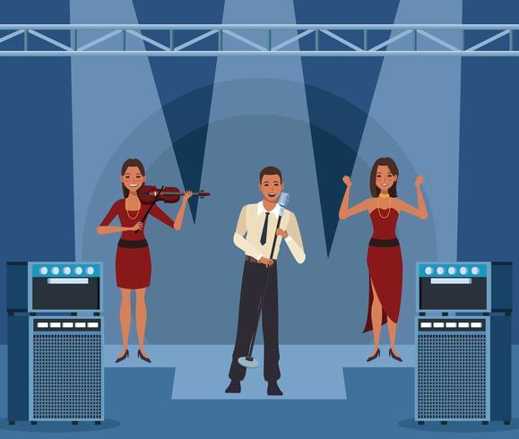 Banda de música de dibujos animados vector