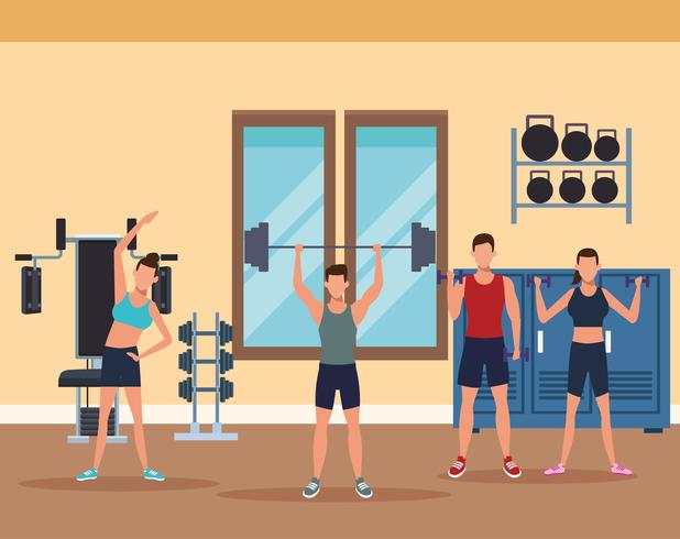 mens fitness doing exercise vector