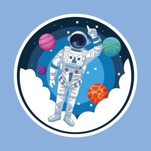Astronauta en el icono redondo de la historieta de la galaxia