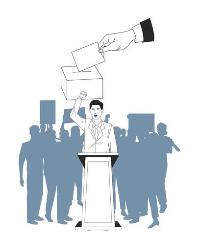uomo che fa una silhouette di discorso e pubblico