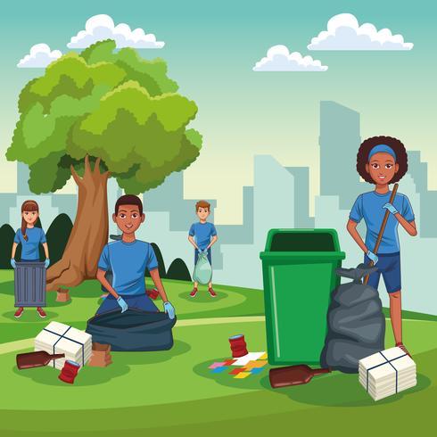 Voluntarios de limpieza del parque vector