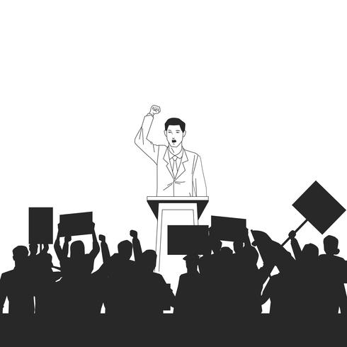 man making a speech and audience silhouette vector