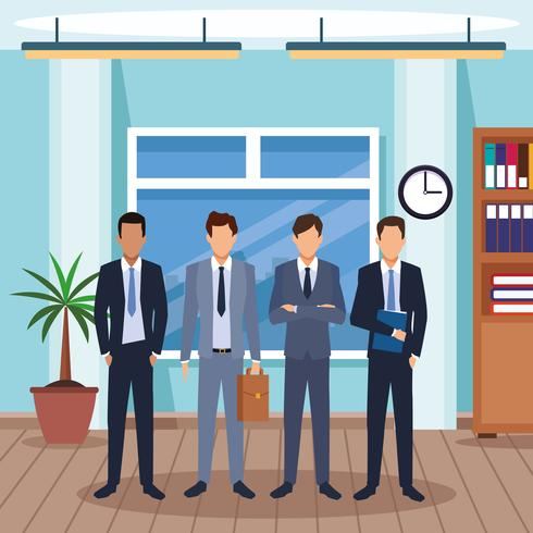 executive men cartoon vector