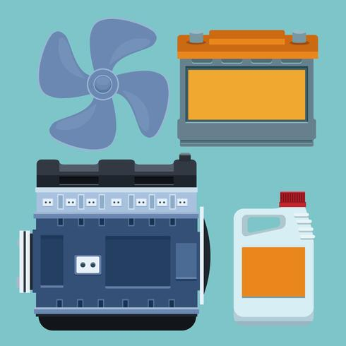 Car factory and parts vector