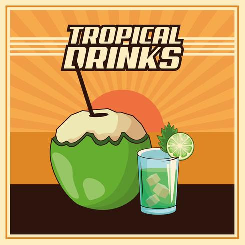tropische cocktail poster vector